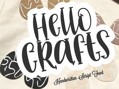 Hello Crafts fun illustrator logo elegant illustration love font lettering script branding design