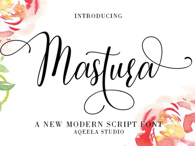 Mastura website type logo fun lettering branding design elegant script typography