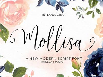 Mollisa fun type elegant love font lettering script typography design logo branding