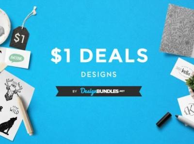 $1 deals animation illustration web branding elegant lettering type typography logo design