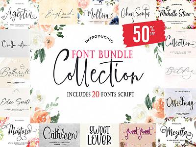 FONT BUNDLE COLLECTION fun website script elegant love font lettering logo typography design branding