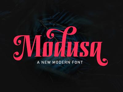 Modusa type web website elegant lettering script typography branding logo design