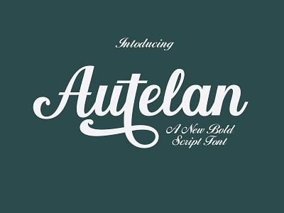Autelan love font website elegant lettering type script typography logo design branding