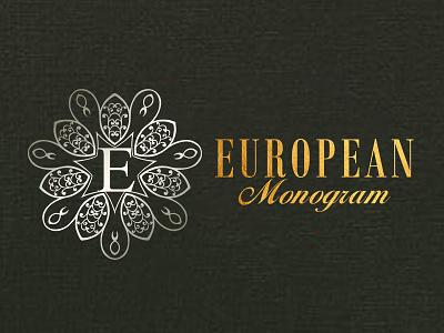 European Monogram icon lettering illustration love font elegant type typography design branding logo