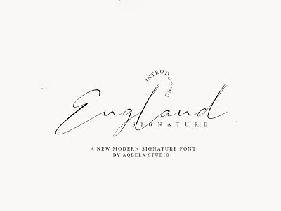 England Signature type fun web script lettering elegant design typography logo branding