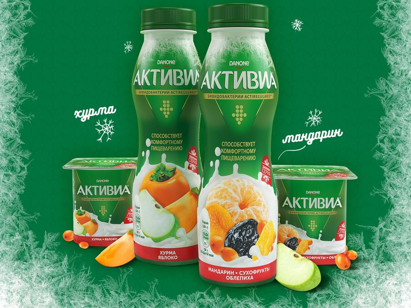 Activia Winter edition verpackung package design package logo food vector branding design