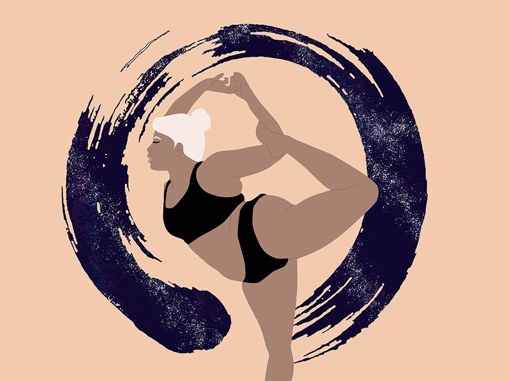 Yoga Girl zen curvy plus size vector illustration girl