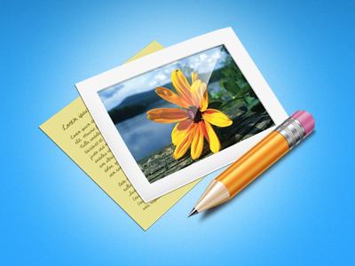 Noutes Application app blue pencil icon web interface layout ui design site