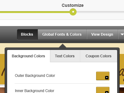 Global Font Styles steps buttons app bg links color picker picker css styles coupon viewer fonts arial verdana list arrows ipad drop-down custom