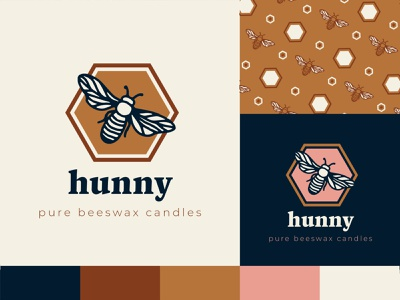 Hunny Candles - Rejected Logo Concept branding candle bee honeycomb honeybee logo honey