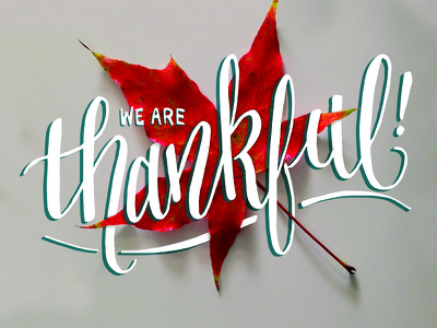 Thankful thanksgiving thankful leaf fall hand lettering hand typography