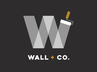 Wall + Co. Logo contractor painter branding logo