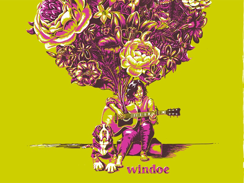 Windoe Poster guitar music flowers illustration poster