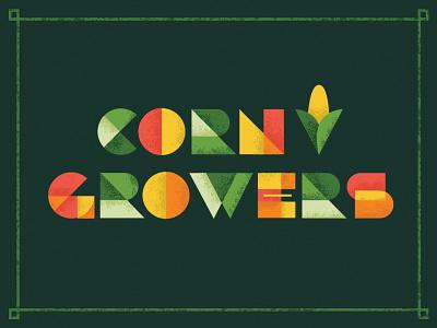 Corn Growers texture lettering design invitation farming corn geometric typography