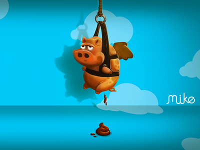 Flying Pig illustration psd painting speed