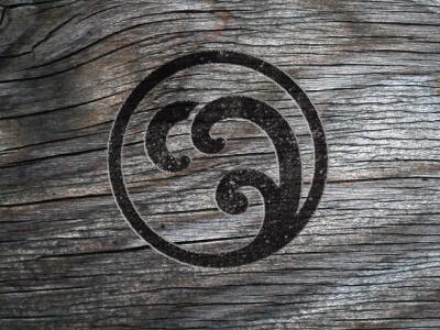 Onsen Dribbble Wood branding holistic spa waves weathered logo onsen wood