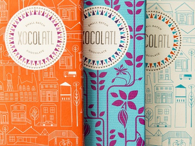 Xocolatl Chocolate xoatl small batch chocolate jukudesign cityscape cacao aztec branding logo design packaging atlanta chocolate