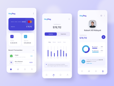 HeyPay - Money Management App money app money management ui design financial app mobile ui typography desain clean design app clean user interface ux ui finance app