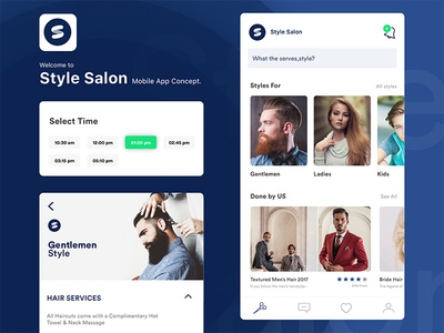 Style Salon Mobile App onboarding ux ui salon modern minimal improve style mobile location barber app