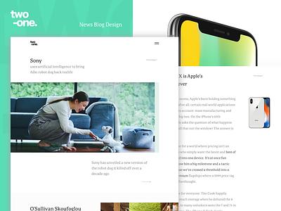 "Two - One ""News Blog Design"" work web ui studio site portfolio navigation menu flat design blog"