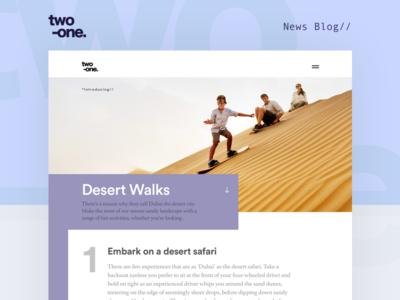 Two-one news Blog work web ui studio site portfolio navigation menu flat design blog