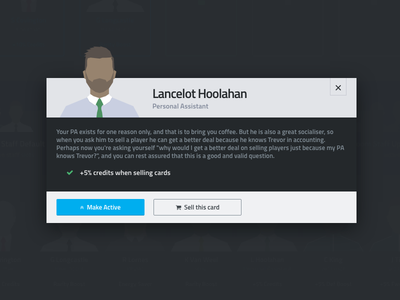 MiniManager - All hail Lancelot Hoolahan ui dark football fantasy football