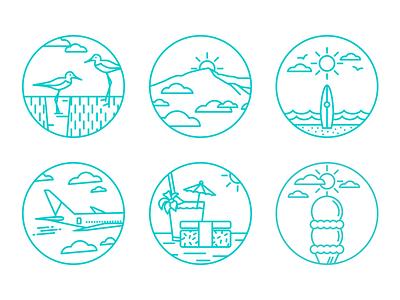 Maui illustration icons teal hawaii maui sun sky surf musubi plane dessert travel