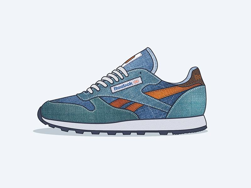 b6b79811972 Reebok classics denim shoes spring trainers sneakers flat reebok classic  illustration vector