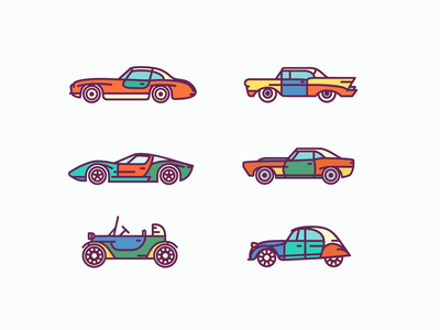 Free Retro Car Icons Set freebie ai icon icons free stock car retro set vector outline flat
