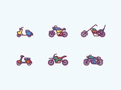 Free moto icon set freebie ai icon free stock scooter motocycle retro set vector outline flat