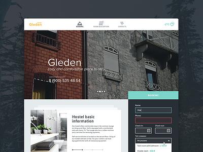Hostel Gleden  web website ui icon icons simple interface hotel form
