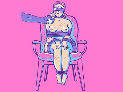 Kink #24 bondage deprivation care bdsm fetish girls nude shibari kinbaku kinky kink illustration erotic cute cartoon