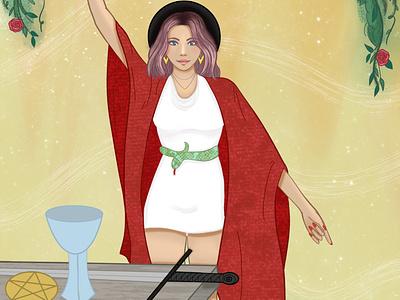The Magician feminine character procreate drawing digital art illustration tarot deck tarot card