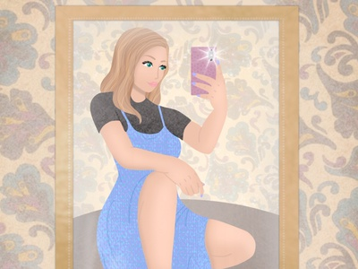 Mirror Selfie feminine fashion character photoshop art procreate drawing digital art illustration