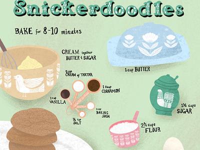 Snickerdoodle Recipe recipe card food recipe procreate drawing digital art illustration