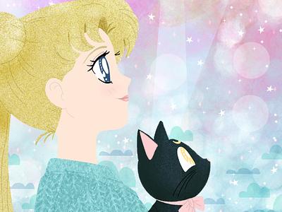 Sailor Moon feminine childrens book illustration childrens illustration childrens book photoshop art procreate drawing digital art illustration anime sailor moon