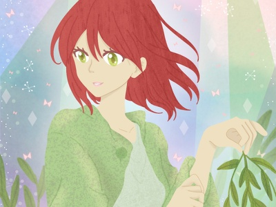 Snow White and the Red Hair feminine anime character childrens book illustration childrens illustration childrens book photoshop art procreate drawing digital art illustration