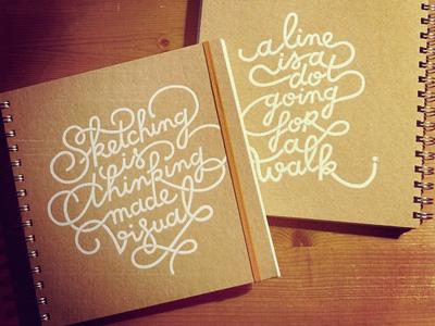 Custom made sketchbooks sketchbook lettering foilblocking