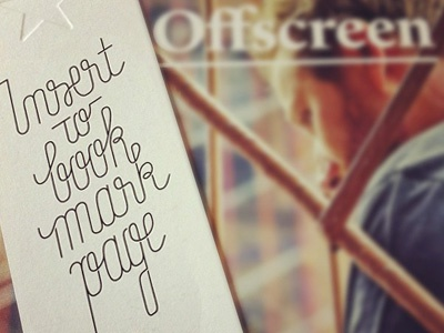 Offscreen #3 and bookmark lettering offscreen