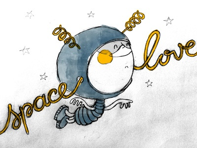 A little astronaut in love illustration sketch