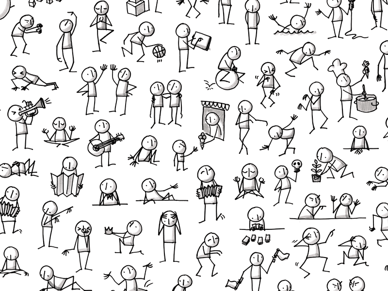 Lots of little people sketches people