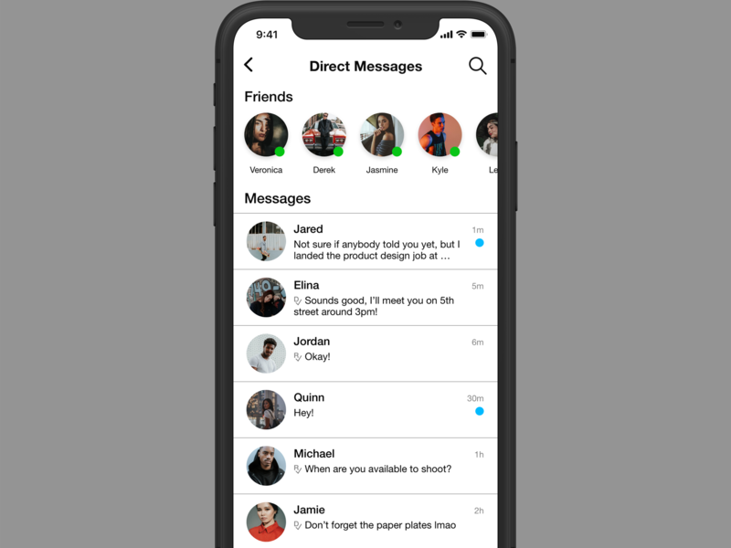 Daily UI #013 - Direct Messages design ui