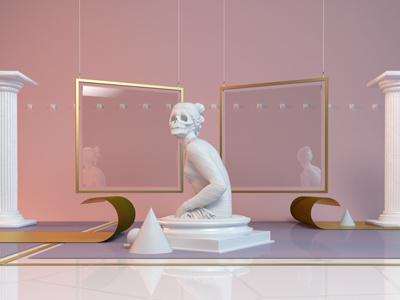Her art direction sculpture skull cinema4d 3d