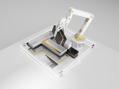 Tlön geometric gold arm robot stairs neon art direction tlön t cinema4d 3d