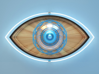 Eye art direction photoshop vray glass neon eye 3d c4d