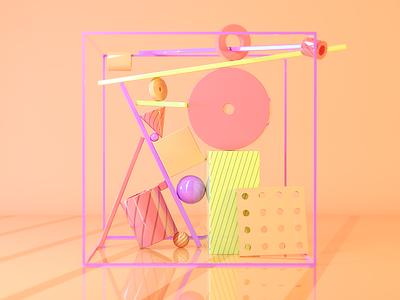 Balance photoshop art direction orange totem shapes geometric cinema4d 3d