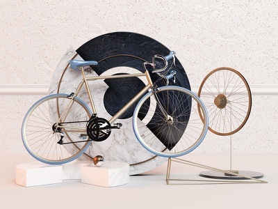 Bicycle geometric shapes bicycle c4d art direction 3d