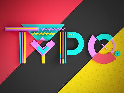 Typo typographic geometric shapes letters c4d art direction 3d