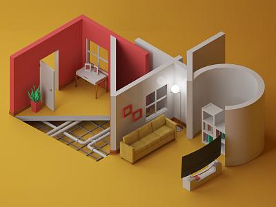 A45 wall tv a45 livingroom design vray photoshop c4d geometric cinema4d art direction 3d