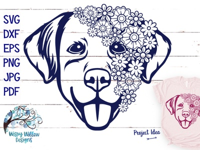Floral Dog Face SVG crafts cricut design bundles cut file illustration vector png svg
